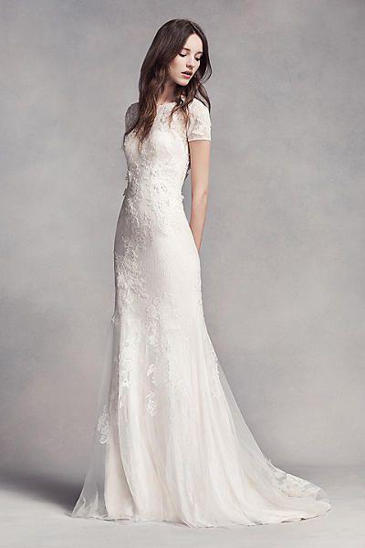 White by Vera Wang Short Sleeve Lace Wedding Dress VW351312 ... 414512c484
