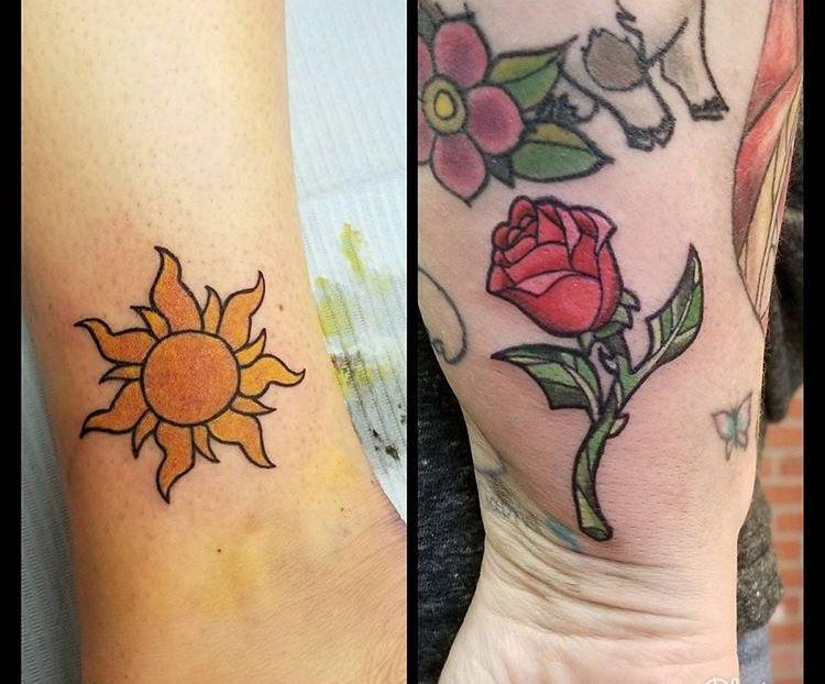 Tangled Sun And Belles Enchanted Rose Tattoos Cool Tattoos Disney Tattoos Tattoos