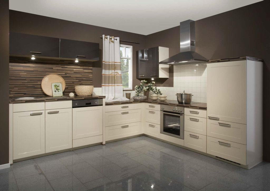 Art Cream High Gloss Kitchen Design With Brown Wall Color Scheme