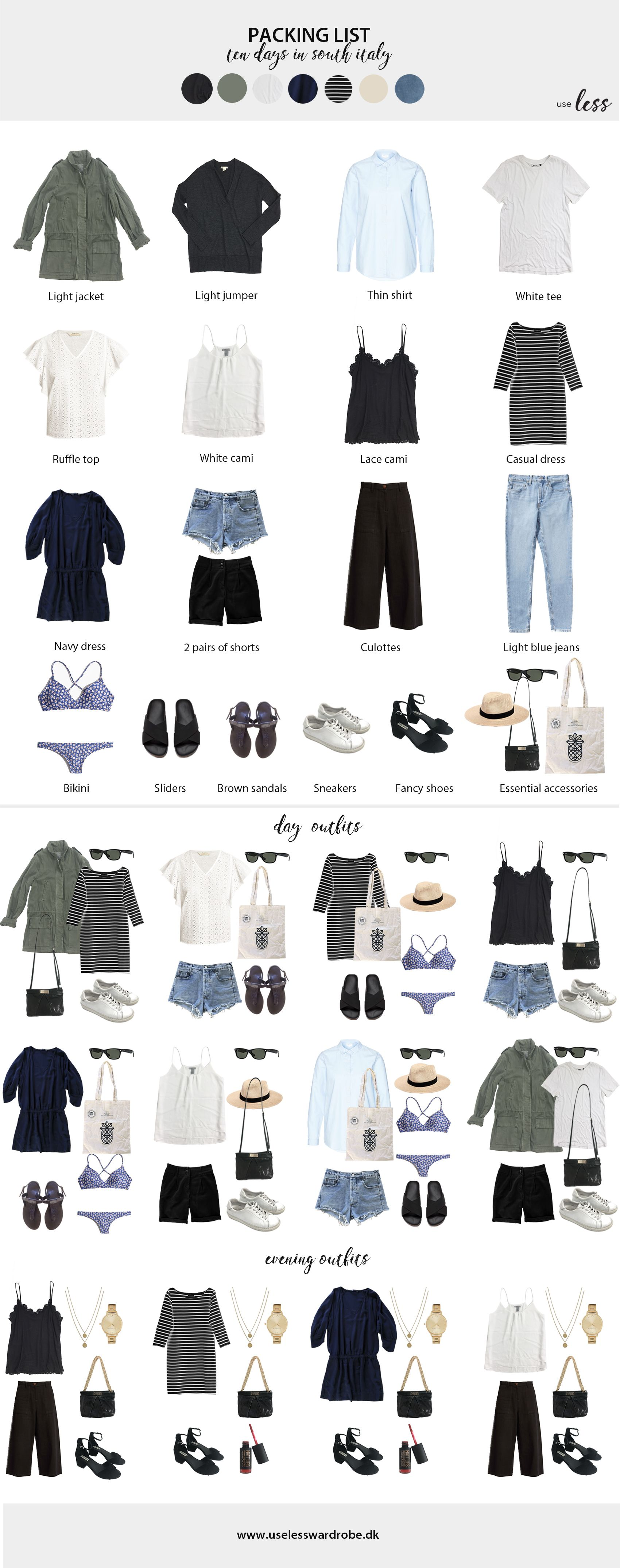 Packing light for a ten day summer trip in South Italy - july 2018. #minimalist #packing #list #minimalism #capsule #travelcapsule #travelwardrobesummer
