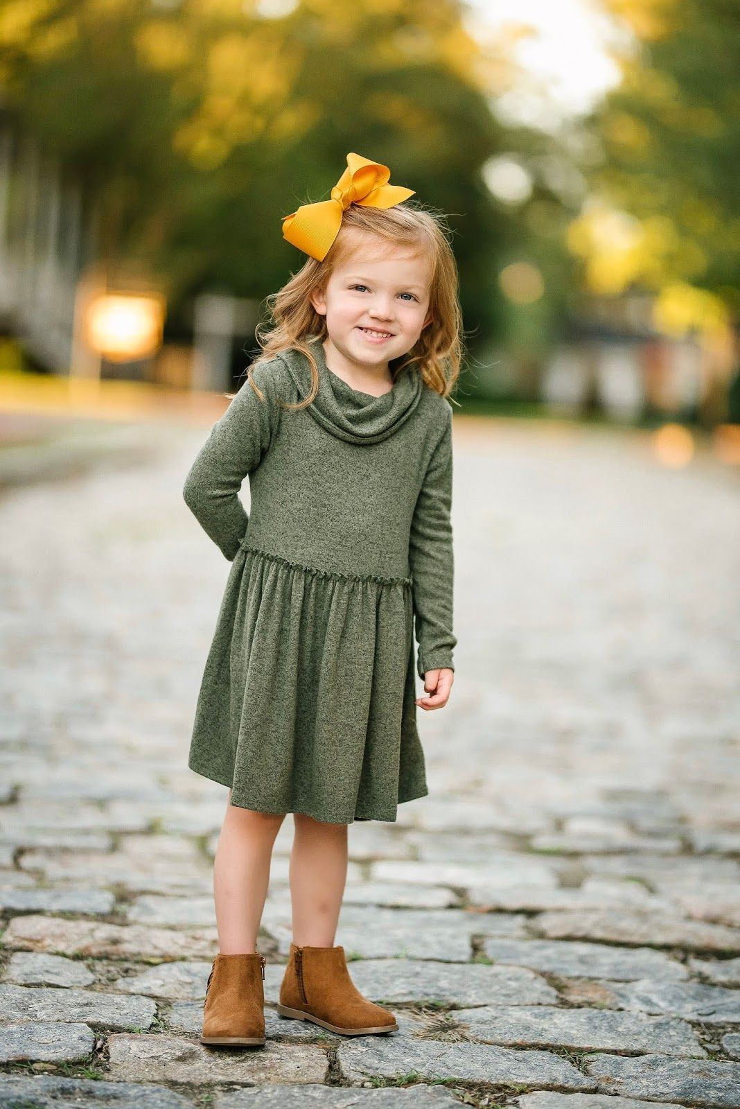 Mustard Yellow & Olive Green for Fall  Green toddler dress, Baby