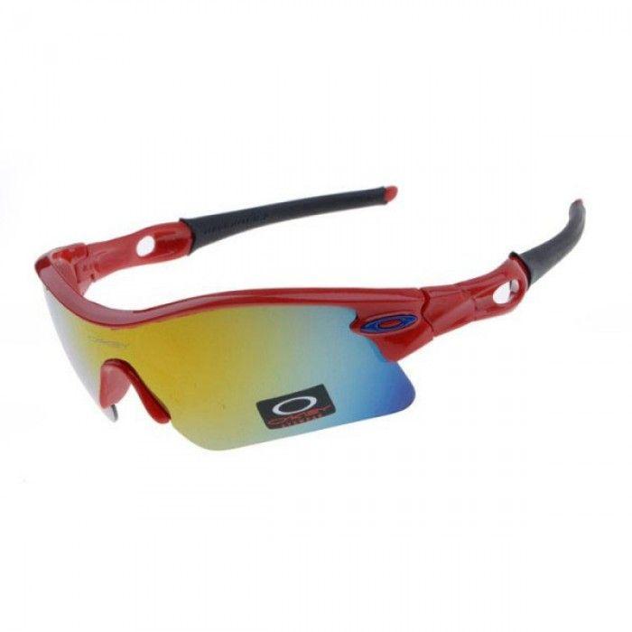 Oakley Radar Pitch Sunglasses Red Metallic Frame Ice Iridium Lens ...