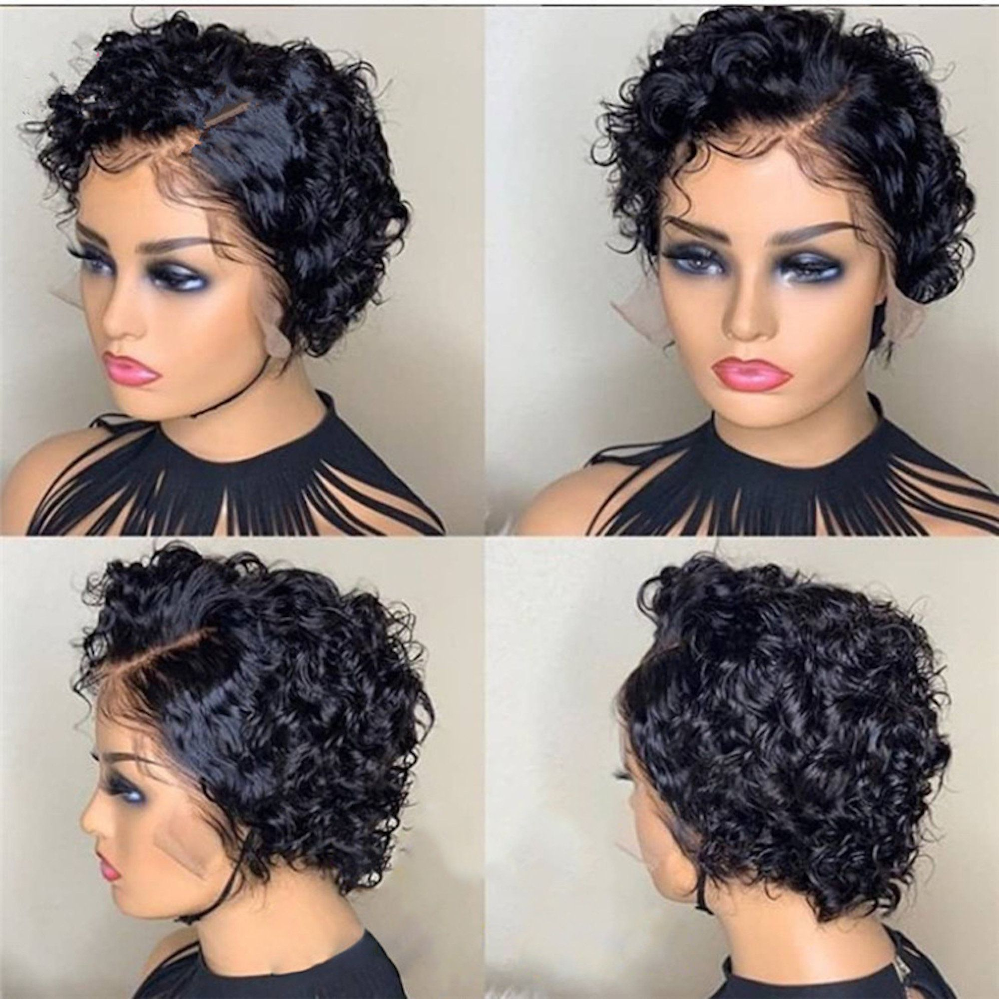 Short Curly Swiss Lace Front Indian Remy Wig Curly Human Hair Wig Human Wigs Short Bob Wigs