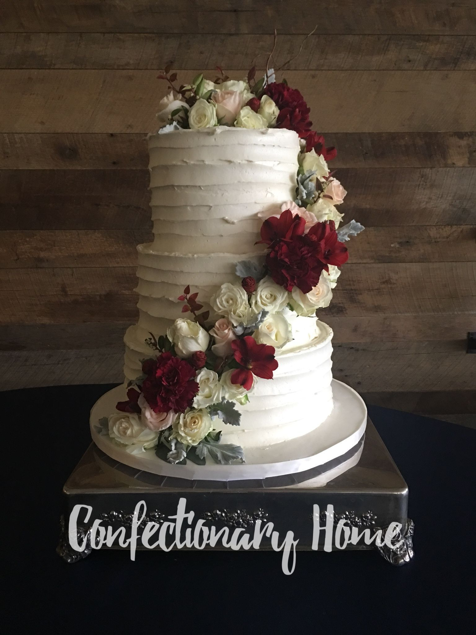 Floral 3 Tiered Buttercream Wedding Cake Rustic Wedding