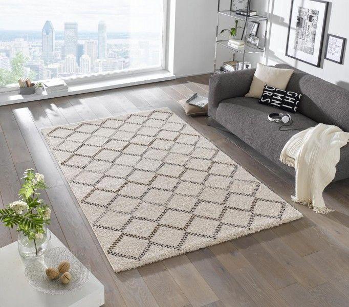 Design Hochflor Teppich Nouveau Creme Braun Teppiche Design Teppiche - Teppich Wohnzimmer Braun