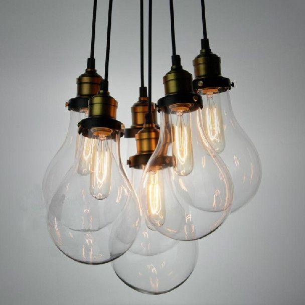 Big Bulbs Cluster Hanging Retro Industrial Pendant Light Chandelier Bulb Pendant Light Glass Shade Pendant Light Cluster Pendant Lighting