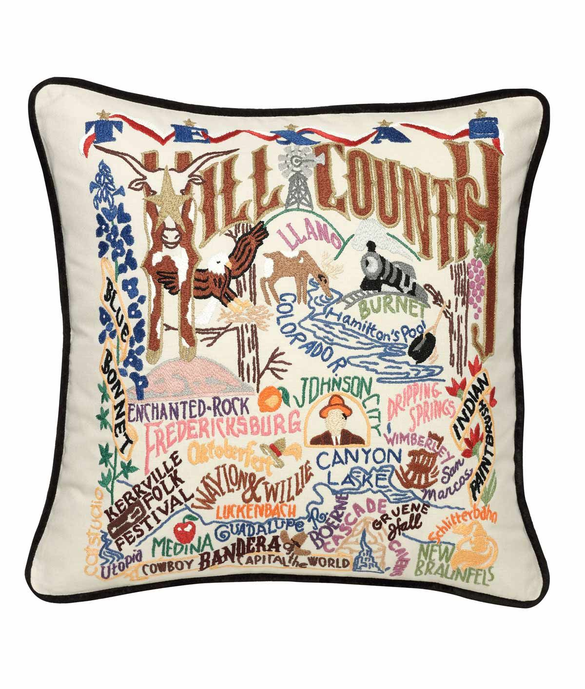 HAND EMBROIDERED REGION PILLOWS | Hand Embroidered Region Pillows - Decorative Americana Features Highlights, Landmarks and Sights from the US, New England to Napa Valley and More | UncommonGoods