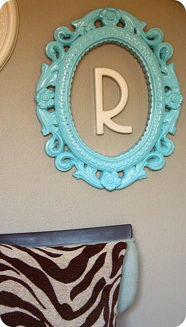 repurposed frame, spray paint, initial.