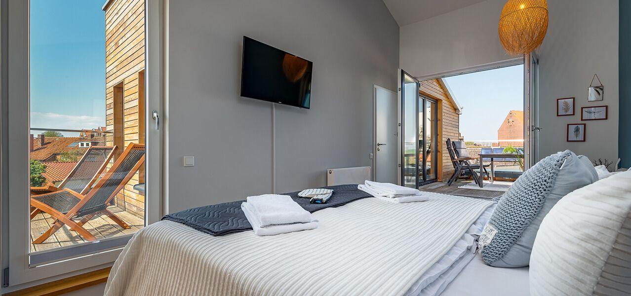 Heiligenhafen Ferienwohnung Willem Waterkant Schlafzimmer Ausblick Wohnung Ferienwohnung Scharbeutz Ferienwohnung
