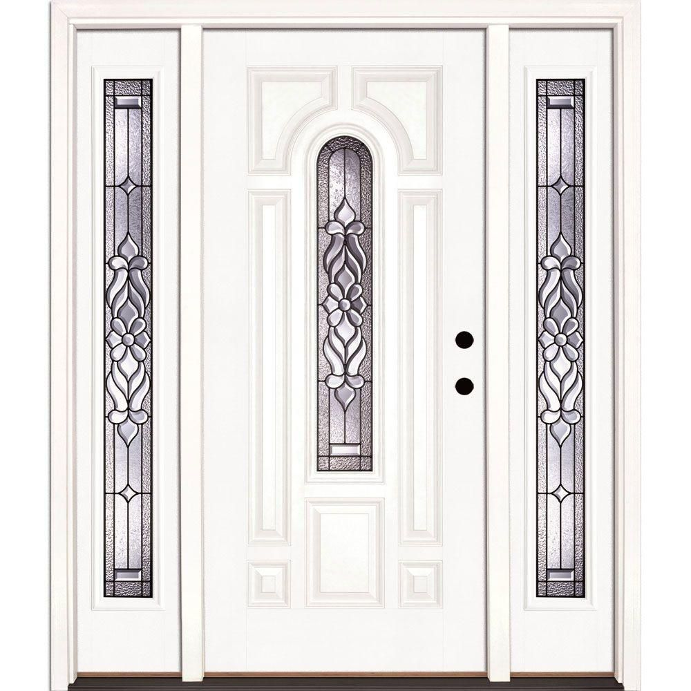Feather River Doors 67.5 in.x81.625in.Lakewood Patina Center Arch Lt Unfinished Smooth Left-Hand Fiberglass Prehung Front Door w/ Sidelites, Smooth White: Ready To Paint