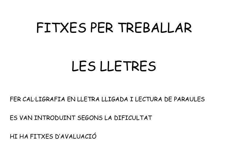 Lectoescriptura Lletres Catalan Language Lectures Comprensives Language