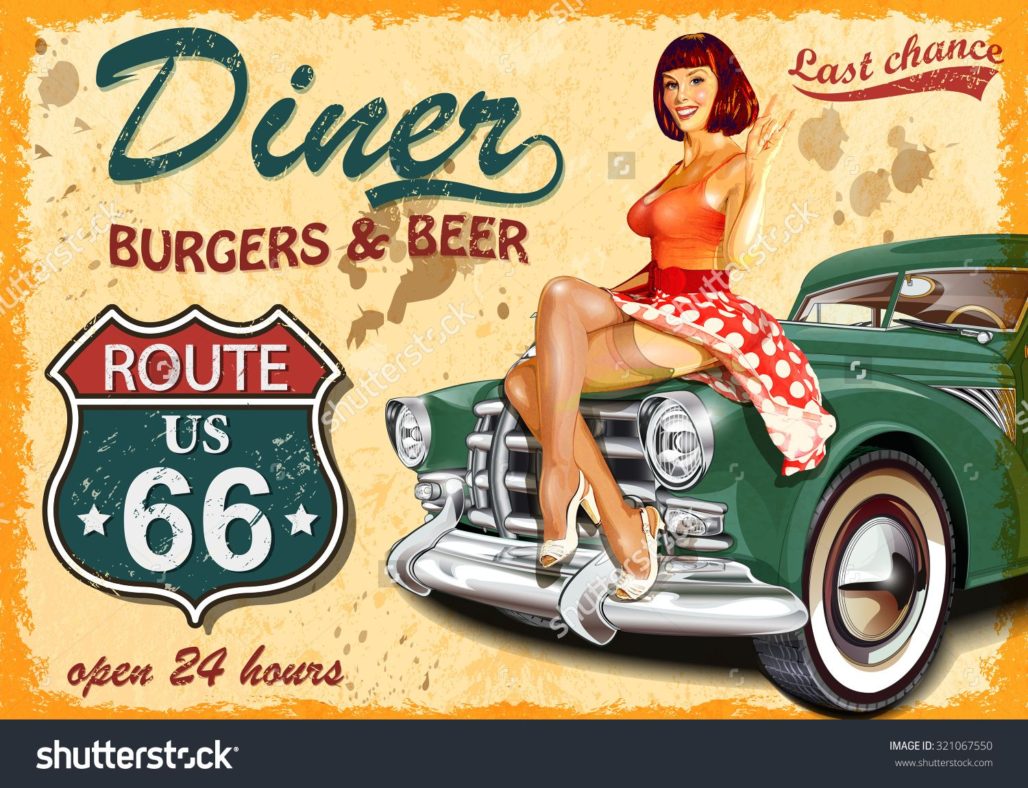 Diner Route 66 Vintage Poster Stock Vector Illustration ...