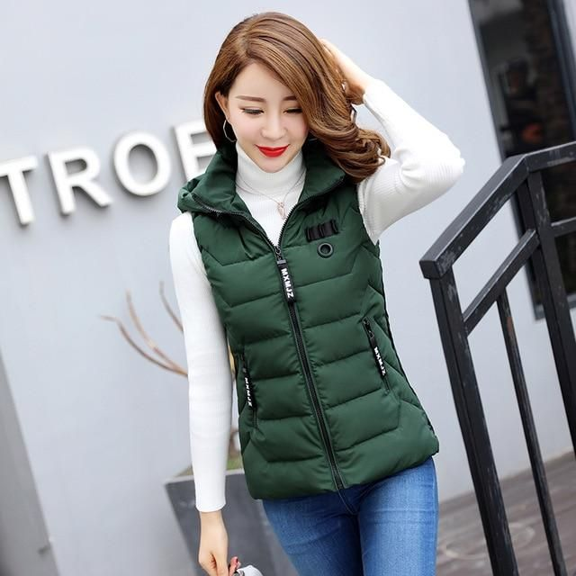 SWREDMI Vest For Winter Women Hooded Warm Vest Women Coat Jacket Outerwear Sleeveless Thick Short Waistcoat Snow Wear #womenvest