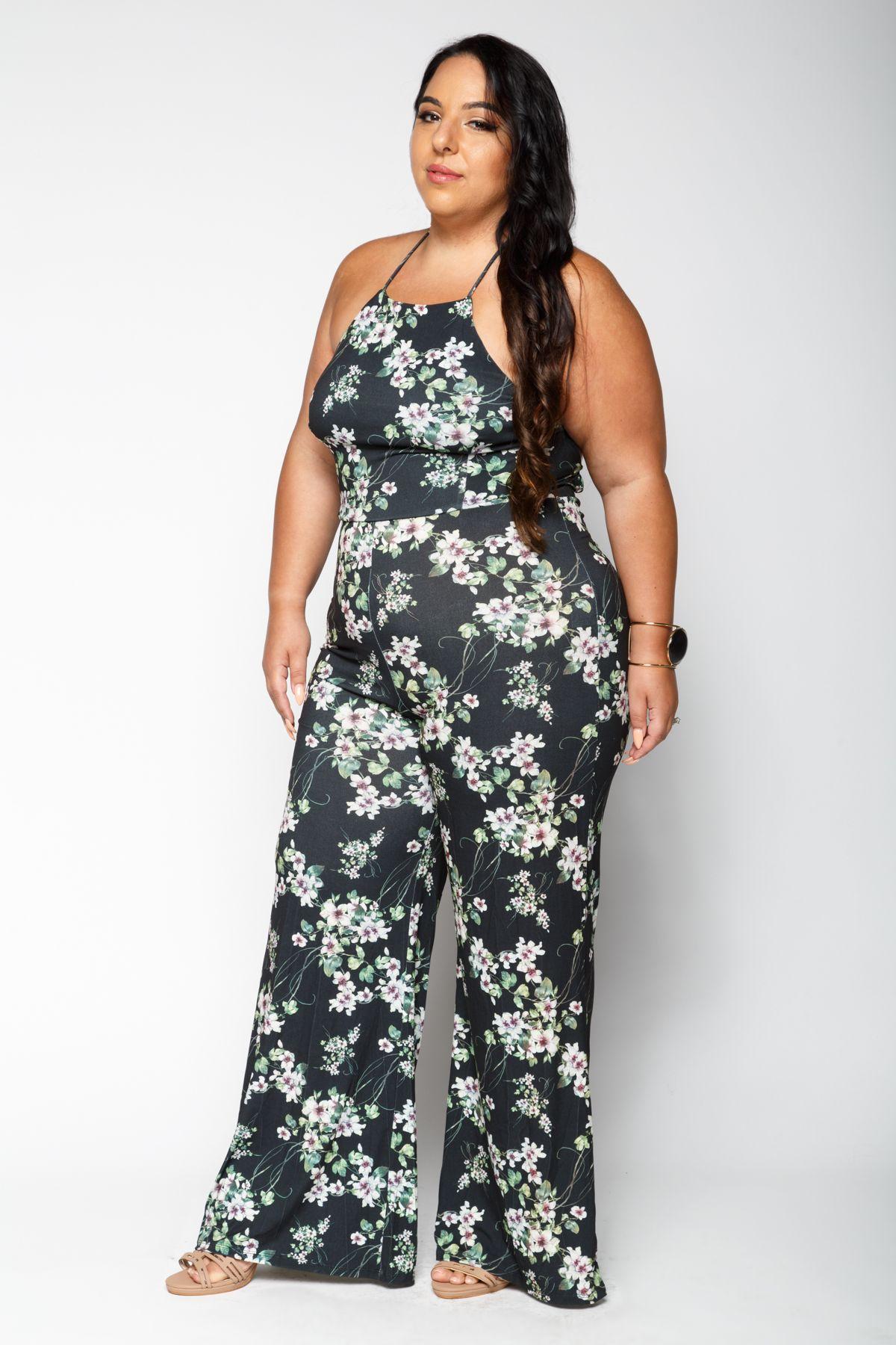 af6b6de7c25 Xehar Kurvige Frauen Plus Size Outfits - Liz Sexy Floral Jumpsuit ...