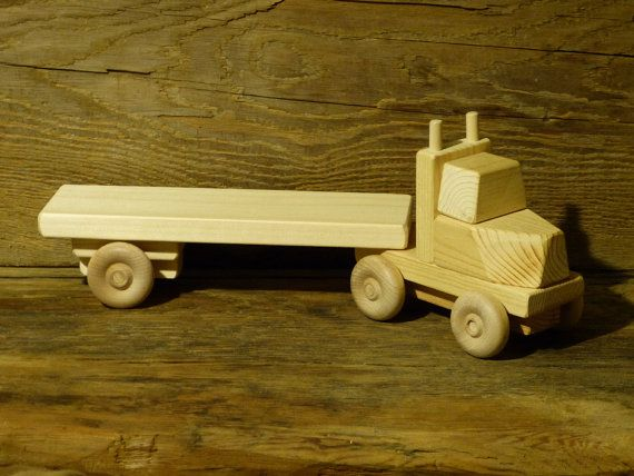 Handmade Wooden Toy Truck Flatbed Trailer Green