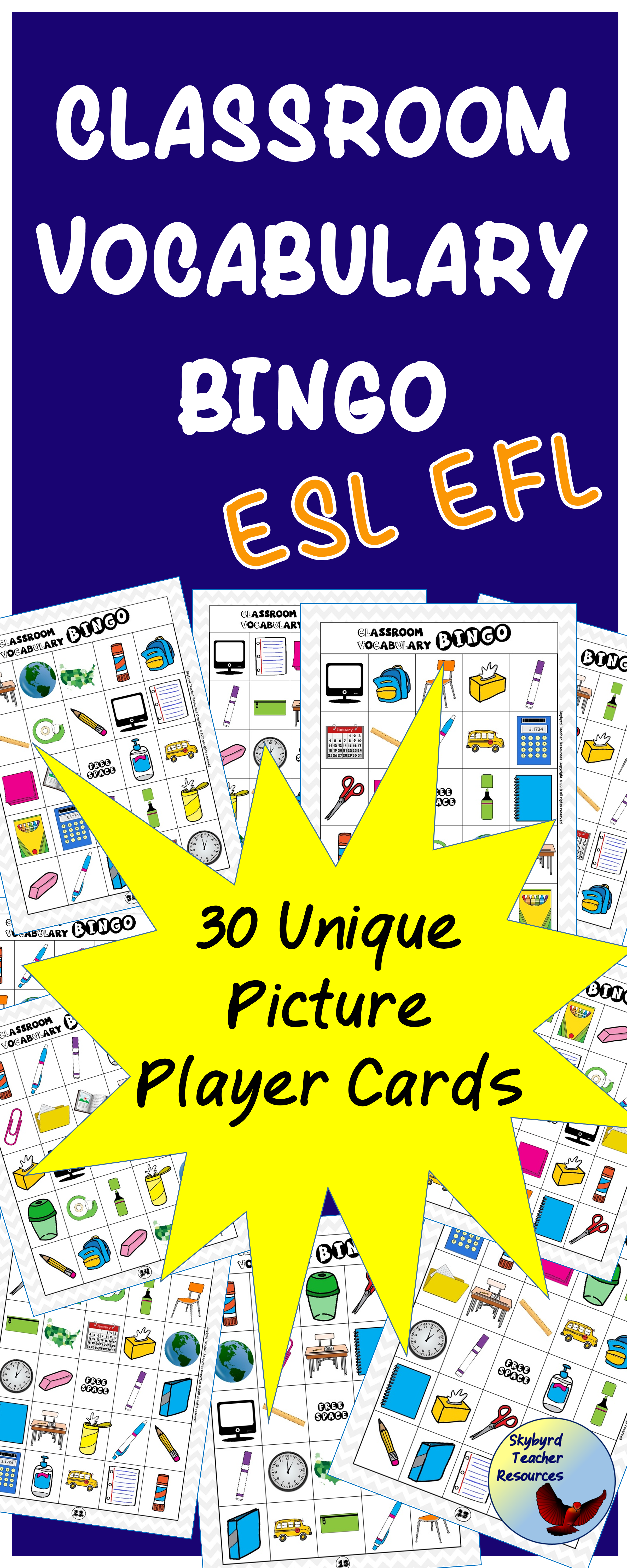 Esl Newcomer Activity Classroom Vocabulary Bingo