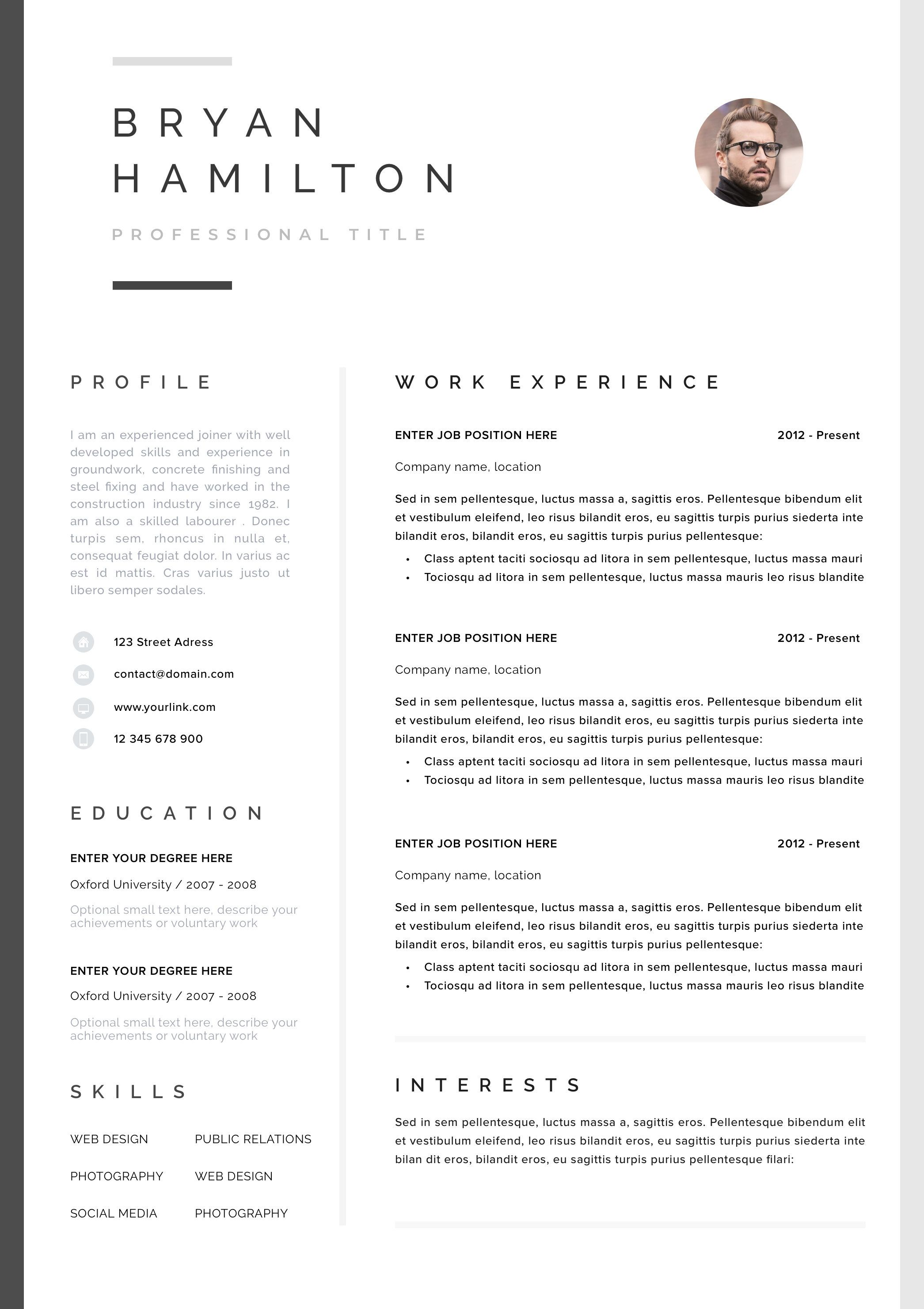 Professional Resume Template Clean Modern Resume Template