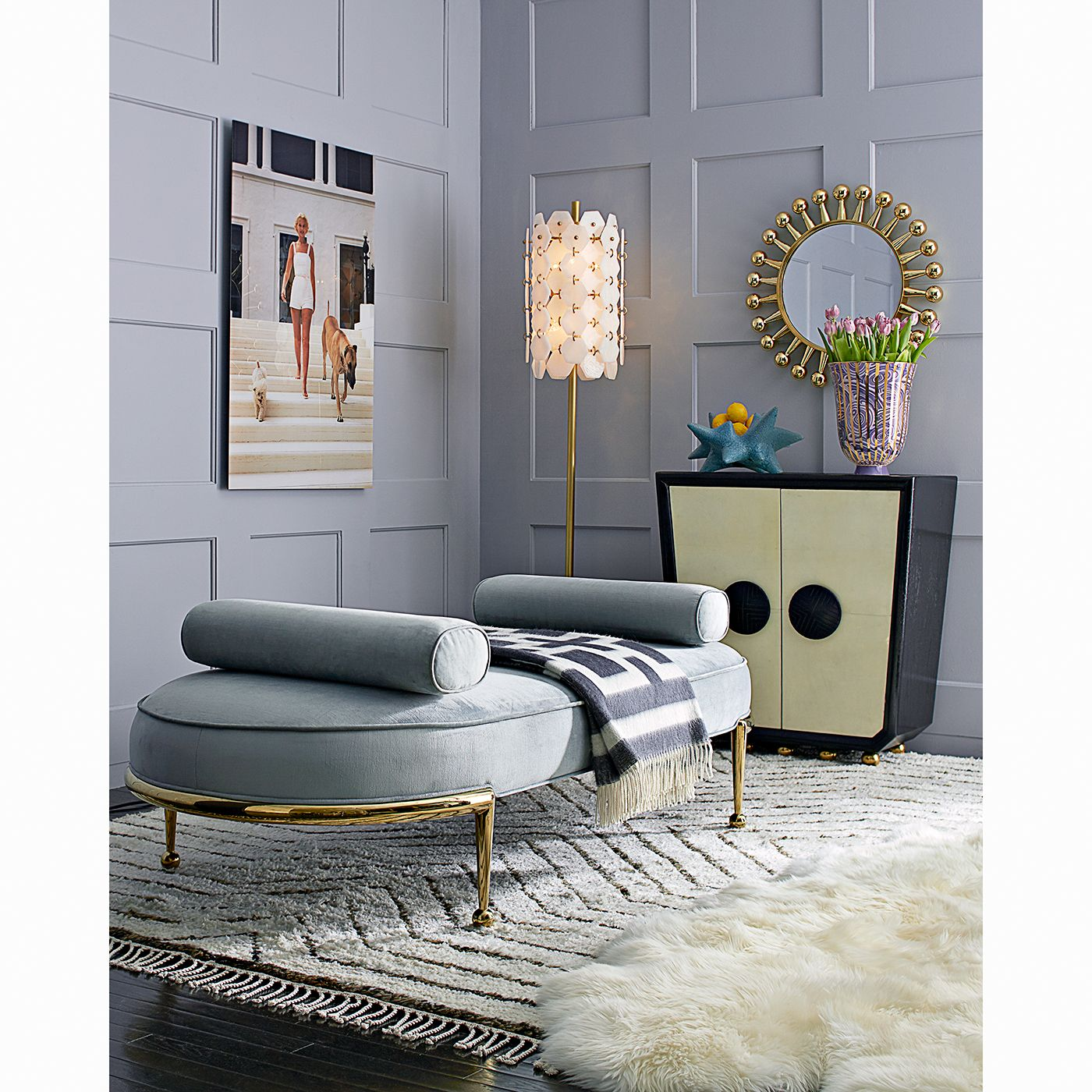 Add unexpected polish to a living room with the jonathan adler charade capsule daybed by placing it opposite a sofa or bring a neglected corner to