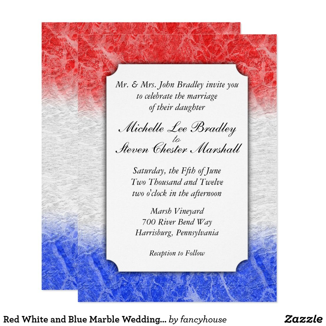 Red White and Blue Marble Wedding Invitations #sale | Military ...