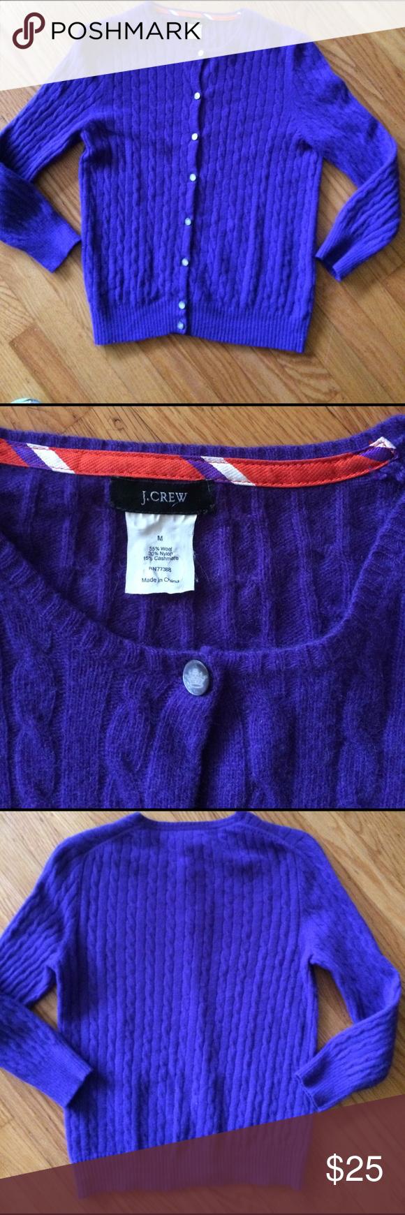 💜 J.Crew - Purple Cardigan Sweater; Misses Sz. S | Cashmere