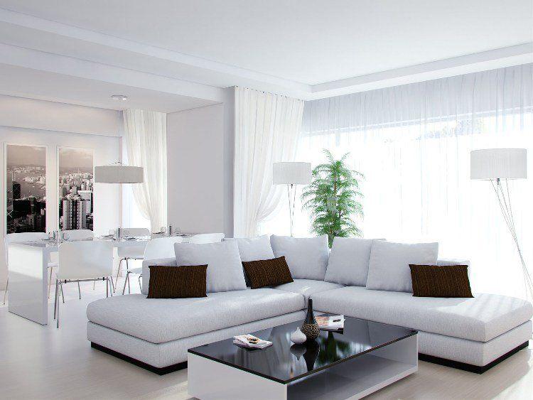 canapé droit blanc neige, coussins décoratifs assortis et table basse design