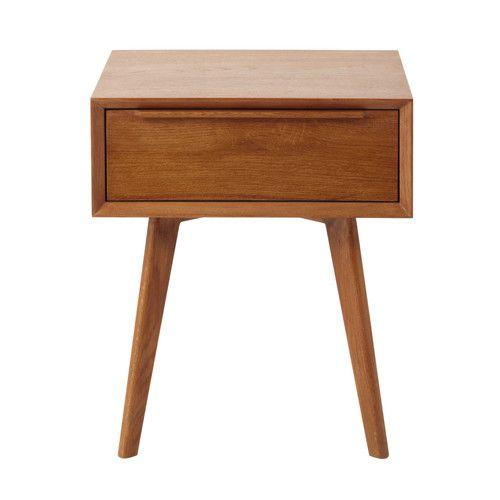 Nachttisch mit Schublade im Vintage-Stil aus massiver Eiche B 45 cm ...