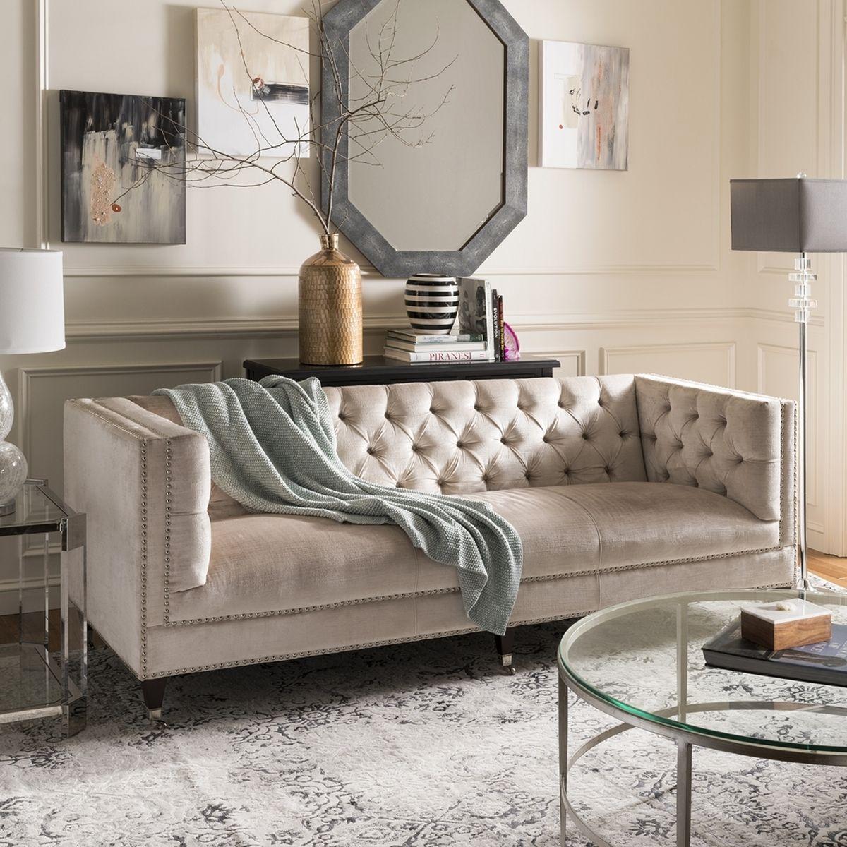 Tufted Upholstered Velvet Nailhead Sofa