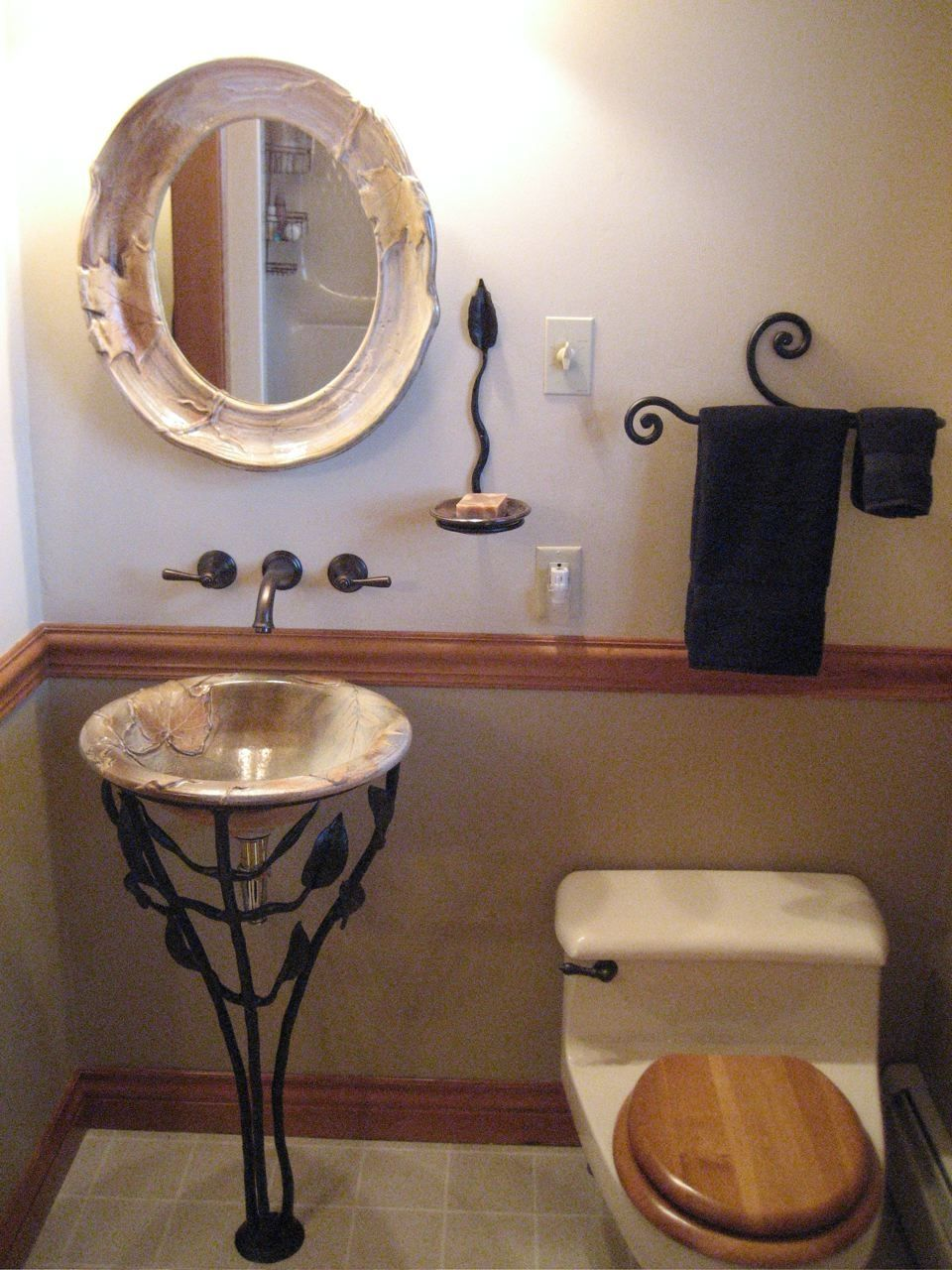 Small Corner Bathroom Sink Design Ideas : Bathroom Vintage Vessel Sink With  Wonderful Bas Relief Design And Leaf And Branch Wrought Iron Pad.