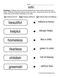 Suffix Worksheet - Suffixes | phonics lessons | Pinterest | Suffixes ...