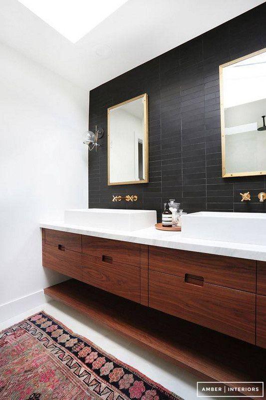 Black Accent Wall Bathroom Architecture Home Decor