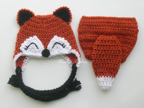 b96a0d61a Crochet Baby Fox Set/Diaper Cover with Tail/Newborn Fox Hat and ...