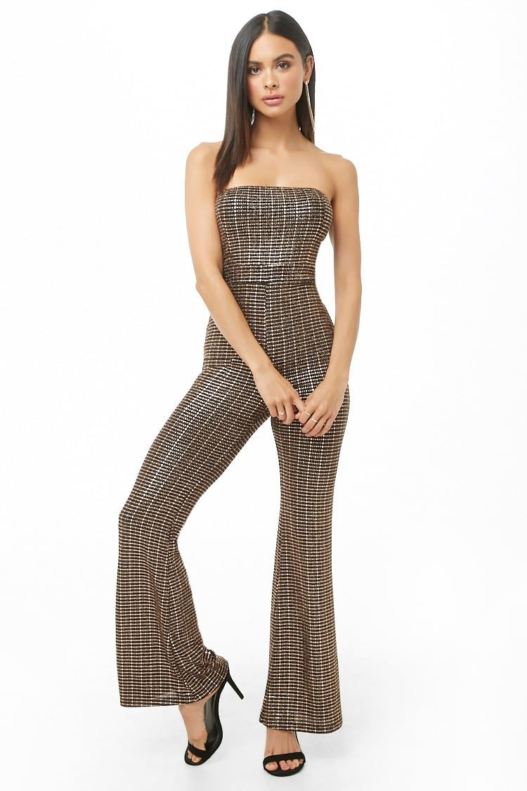 a9c8b9523a Fashion Metallic Flare-Leg Tube Casual day Party Summer Sleeveless  Jumpsuit. Trendy women outfit ideas.  PangaeaTS  jumpsuitsrompers  playsuit  ...