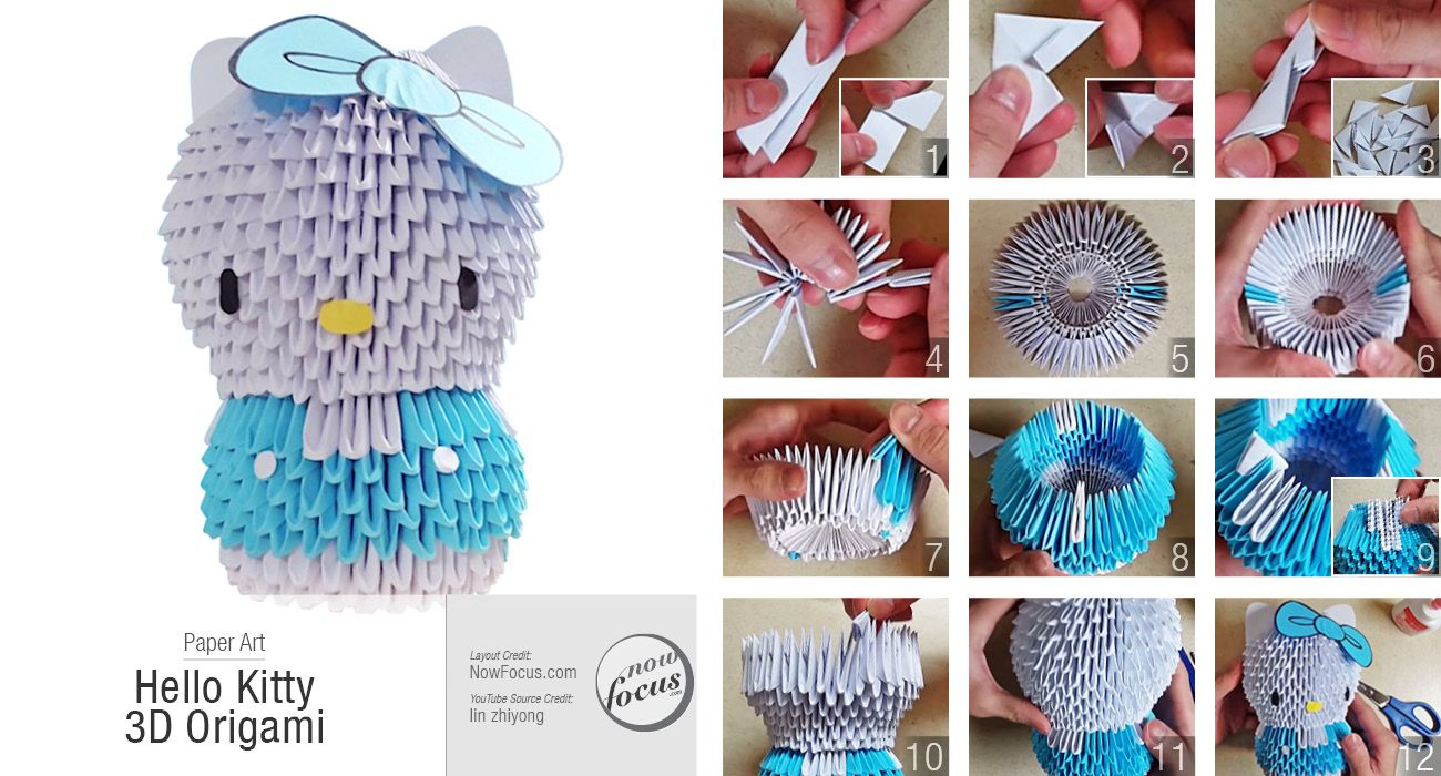 Hello Kitty 3d Origami Pinterest Diagrams Paper Art Oragami