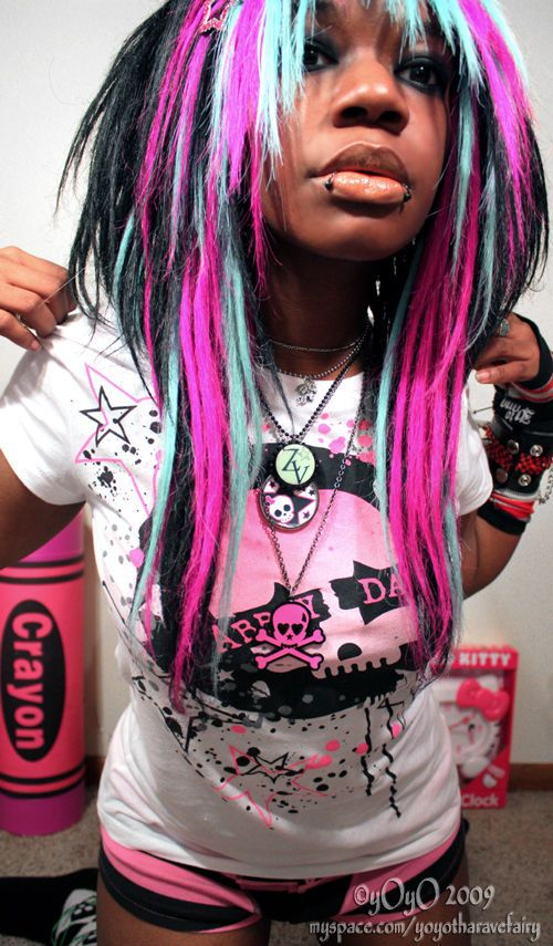 Cool Black Blue And Pink Scene Hair Hair Colors Ideas Beautiful