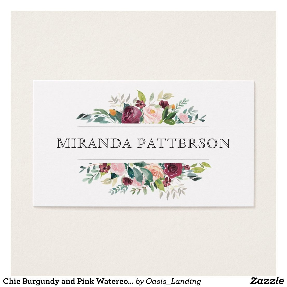 Chic Burgundy and Pink Watercolor Floral Frame Business Card - A ...