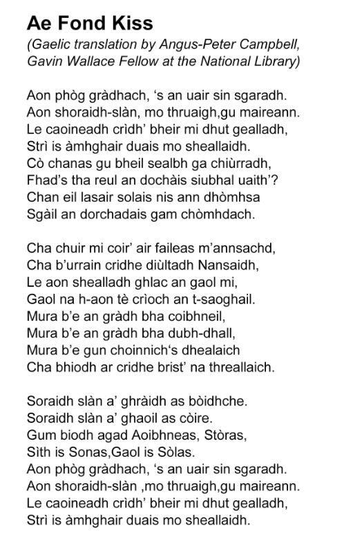 National Library On Sam Heughan Gaelic Translation Robert Burns