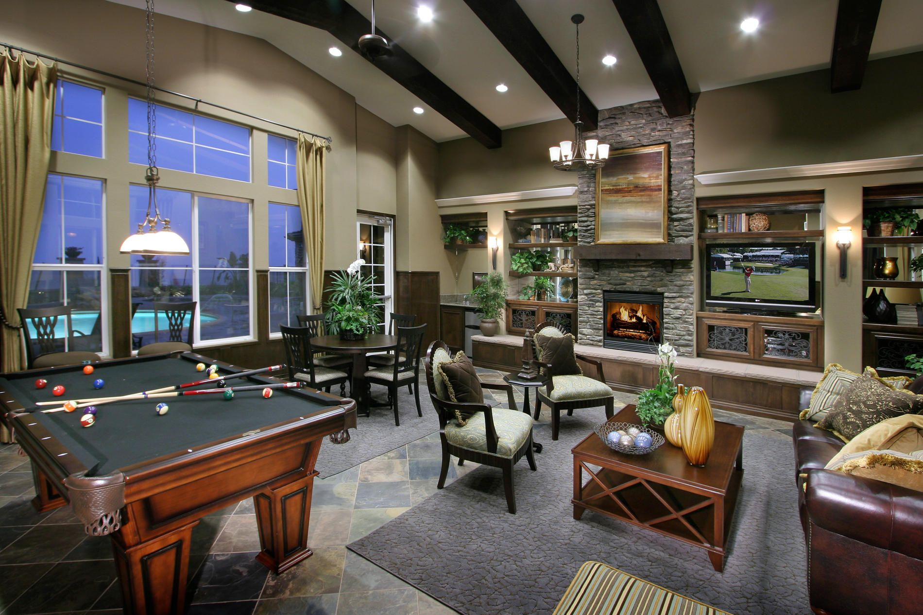 This one is smaller than a standard pool table and although you will need some elbow room for. Recreation Room | Recreational room, Rec room, New homes