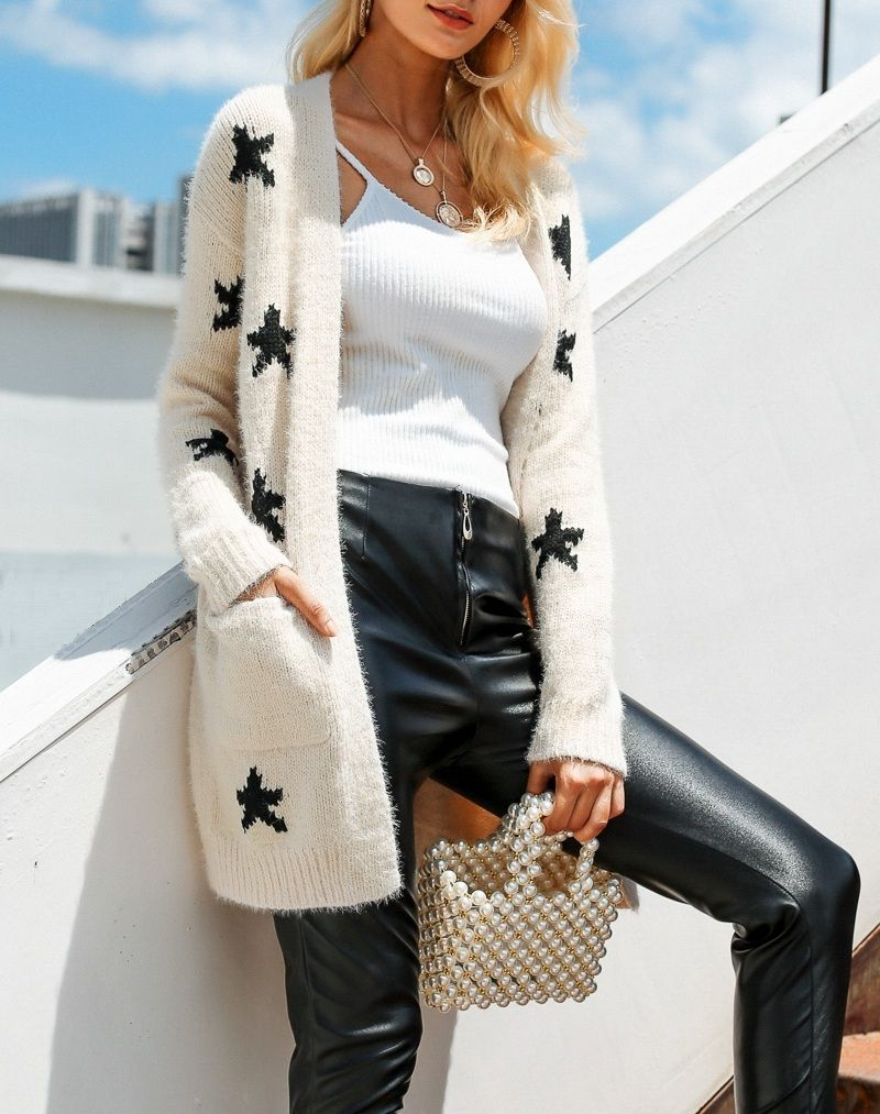 82a5de9391 CLICK   BUY  ) SHOP Beige black star print casual long knitted cardigan  autumn fall winter jumper black leather pants fall outfit black ankle boots  outfit ...
