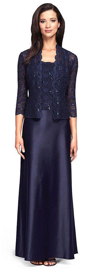 Alex Evenings Lace Charmeuse Jacket Dress My Style Pinterest