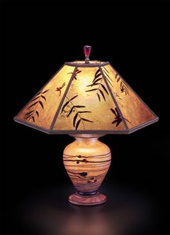 Lindsay Art Glass Table Lamp Mica Lampshade Floral Illusion With