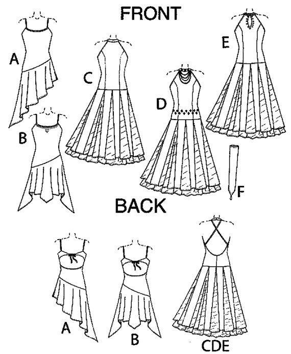 McCall\'s 5136 Dance Dress w/Attached Bodysuit & Fingerless Gloves ...