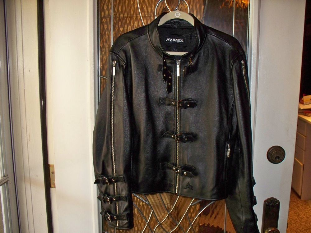 AVIREX LEATHER JACKET / EXTRA LARGE / BLACK / MOTORCYCLE