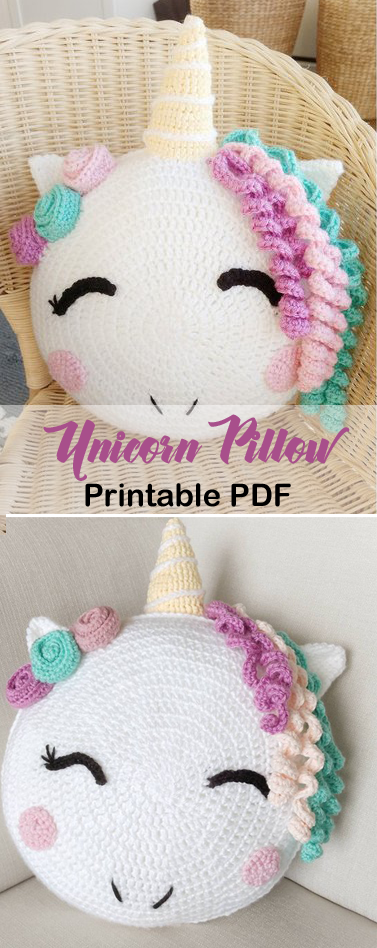 Unicorn Pillow Crochet Pattern  #crochetpatterns
