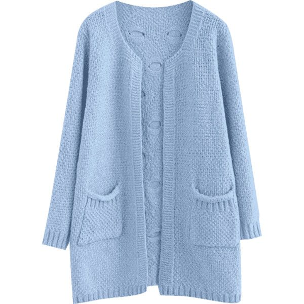 Sheer Pockets Open Front Cardigan Light Blue ($29) ❤ liked on ...