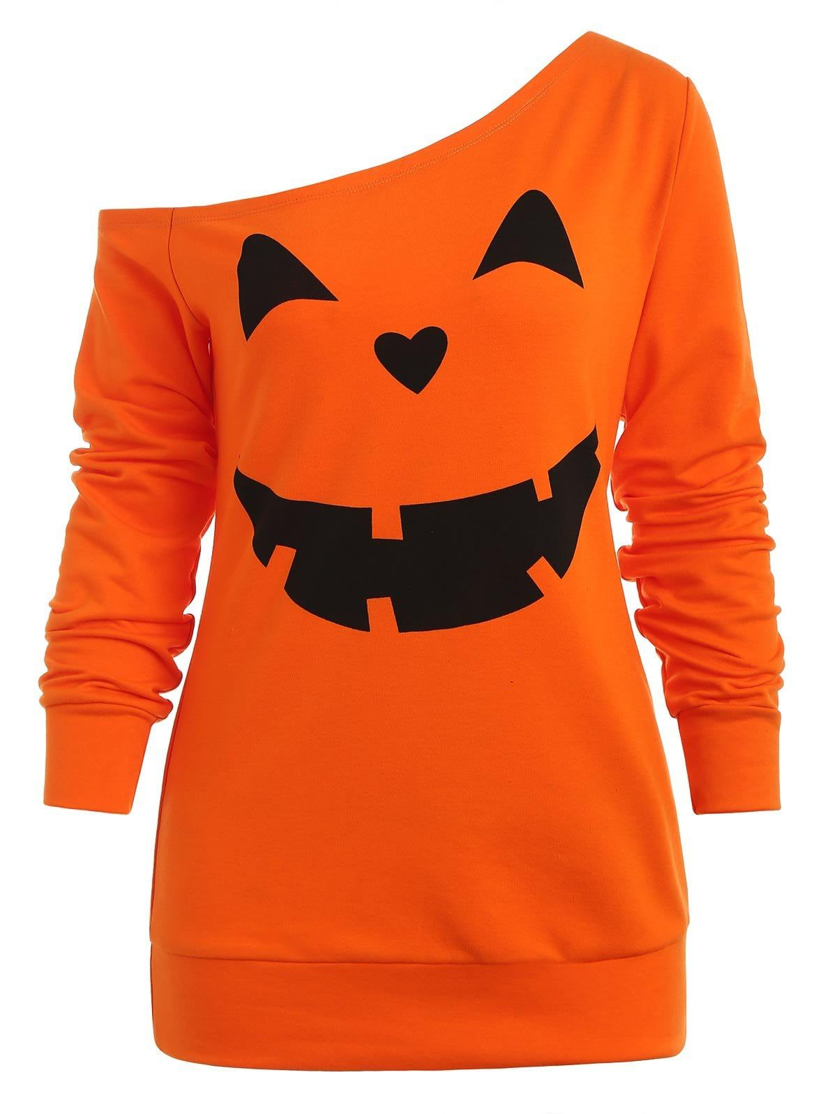 Halloween Ladies Pumpkin Black T-Shirt Orange Gothic Womens Top Plus Size 8-26