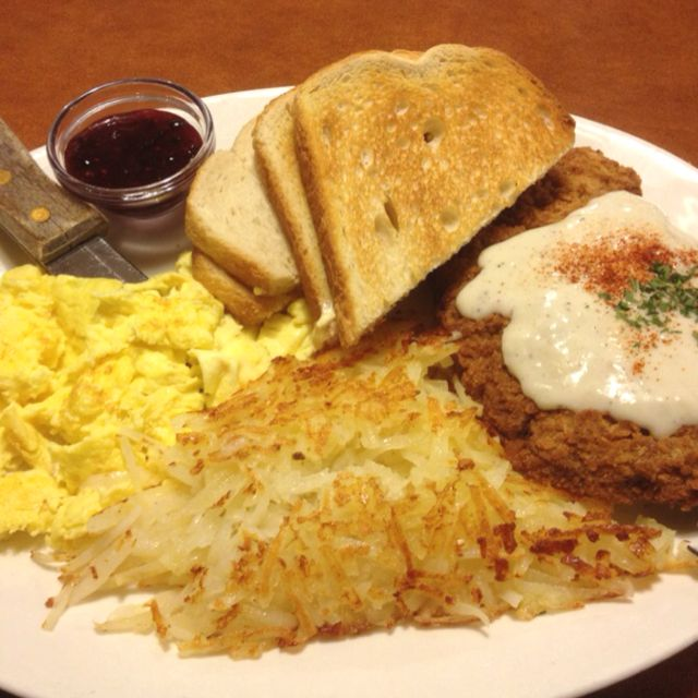 Chicken Fried Steak And Eggs Shari S Delicious Breakfast Recipes Chicken Fried Steak Yummy Breakfast