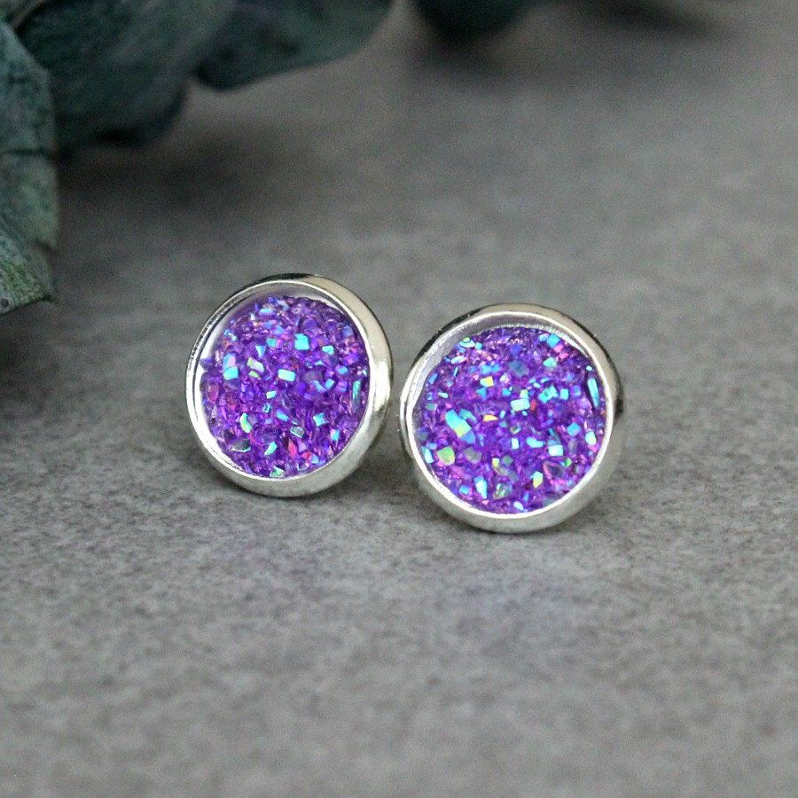Beautiful new purple Druzy earrings from Bella Boutique ...
