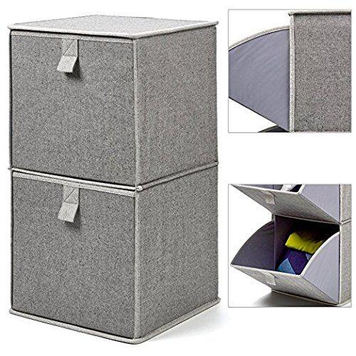 EZOWare Boîte de Rangement Pliable en Tissu de Coton avec 2 Tiroir Pivotant pour Vêtements, Sous ...