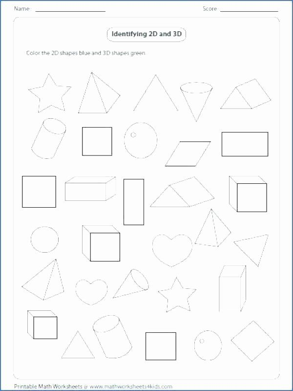 3d Shapes Worksheet for Kindergarten Shapes Worksheets