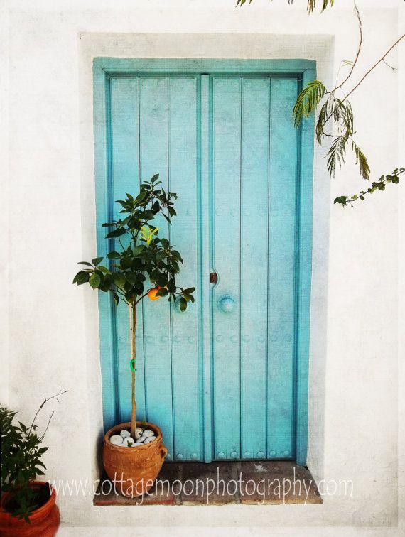 Turquoise Spanish Door Mijas Spain Orange by CottageMoonCorner, $15.00